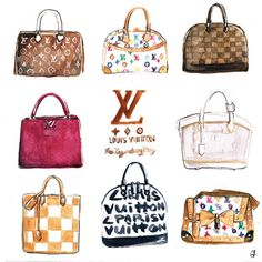 Louis Vuitton Bags Collection 8 x 8 Watercolor by PinkSienna, $12.00