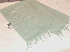 "New WT Tie Rack Knightsbridge London Green Wool Pashmina Fringed Scarf 80"" x 28"" #TieRack #Pashmina"