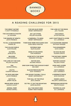 """thelucideffect: """" Based on the ALA's Banned & Challenged Classics list, which can be found here: http://www.ala.org/bbooks/frequentlychallengedbooks/classics 1. The Great Gatsby, by F. Scott..."""