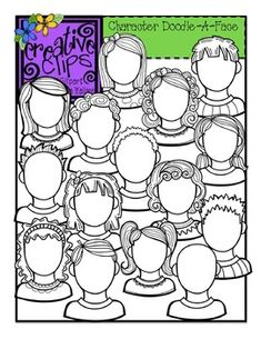 Character Doodle-A-Face Clipart: Perfect for back to school feelings activities, character analysis, self portraits, etc. 15 different face templates included! $