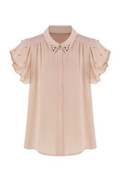 Silky soft shirt featuring pointed collar embellished with lustrous faux pearls and silver beads, short ruffled sleeves also embellished with faux pearls and beads, concealed button tab through front,