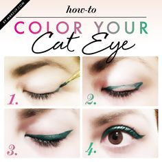 how to: color your cat eye // love the green eyeliner!