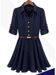 dark blue half sleeve lapel chiffon dress
