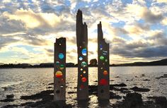 'The 3 Graces' on the River Adur / stained glass sculptures by Louise V Durham