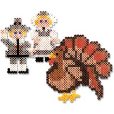 Celebrate Thanksgiving in a traditional way with these pilgrims and turkey you create with Perler beads! Tuck them into your Thanksgiving table centerpiece, or make multiples to place on each plate.