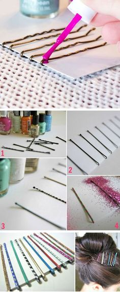 Bling Your Bobby Pins with Nail Varnish | Click Pic for 25 Simple Life Hacks Every Girl Should Know | Household Tips and Tricks for Life
