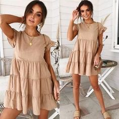 Women Casual Dresses Frauen lässig Kleid Ballkleid Baby Girl Party Kleider - ooklyy The Wonders Of 9 Cute Summer Outfits, Cute Casual Outfits, Casual Dresses For Women, Beach Outfits, Casual Clothes, Spring Outfits, Little Dresses, Cute Dresses, Mode Outfits