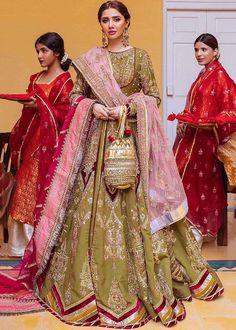 Bridal Lehenga, Mahira Khan, Desi Wedding, Green Fabric, Henna Color, Saree, Bride, Cotton, That Look