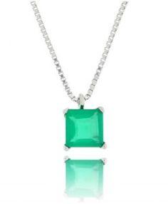 colar da moda com pedra esmeralda e banho de rodio semi joias de luxo