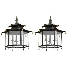 Pair of English Regency Style Black Tole Pagoda Lanterns with Tassels