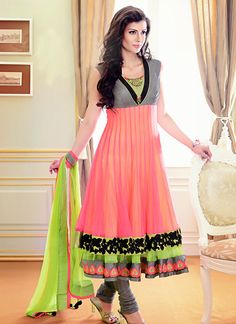 Neon Trendss Designer Readymade Suits Redish Pink and Grey Net Readymade Designer Suit