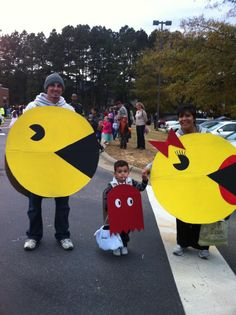 mr. & mrs pacman and ghost costumes