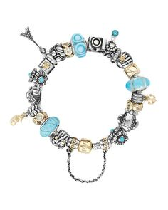 Pandora Bracelet Ideas | PANDORA Bracelet - 14K Gold & Sterling Silver with Turquoise Charms
