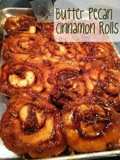 Butter Pecan Cinnamon Rolls - caramel pecan glaze