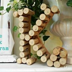 Monogram Made With Wine Corks used from the wedding!