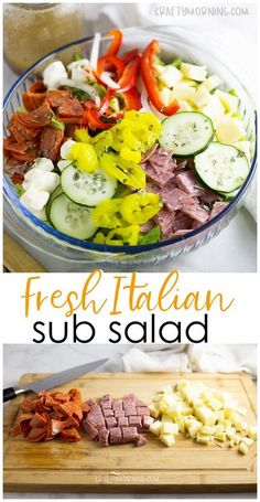 Italian Sub Salad Recipe- Delicious summer salad recipe to make for a potluck or. Italian Sub Salad Recipe- Delicious summer salad recipe to make for a potluck or party. Healthy sub Italian salad dish. Cucumbers, peppers, pepperoni, cheese, etc. Italian Sub Salad Recipe, Italian Recipes, Italian Chopped Salad, Italian Dishes, Summer Salad Recipes, Dinner Salad Recipes, Salad Recipes Healthy Lunch, Side Salad Recipes, Healthy Summer Recipes
