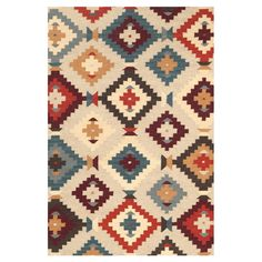 Dash and Albert Texcoco Kilim Wool & Cotton Area Rugs. Multi-colored wool and cotton area rug is striped in a palette of colors including reds, blues, tans and purples. Would look great in a southwest home or mountain lodge.