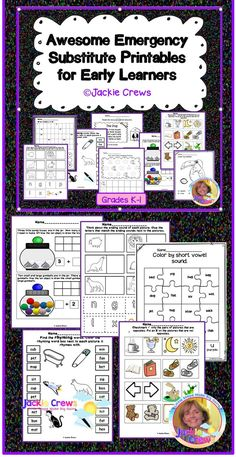 This is a 27 page kindergarten (and 1st graders who must master kindergarten standards) emergency sub activity pack. It includes 11 language arts and 10 math activities, enough to cover two days of being absent! There are 25 usable pages including kindergarten math and language standards covered. I included some easy independent pages and some pages that might be guided depending upon the learners involved.