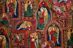 "1 Yd Angels on Stain Glass Windows Christmas Cotton Quilting Fabric 33"" X 44""   #Woodrow"