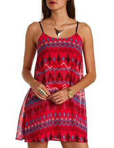 Strappy Back Tribal Print Chiffon Shift Dress: Charlotte Russe