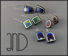 earings- Silver Wood AnD Enamel
