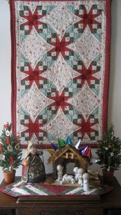 """Quilt by my friend Alice Clark Goldsmith.  The pattern is """"Tennessee Waltz""""."""