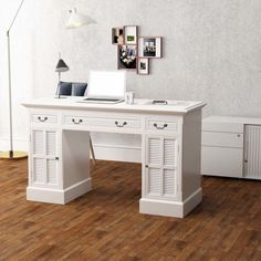 Executive Office Desk White Pedestal Workstation Computer Desk Storage Drawers