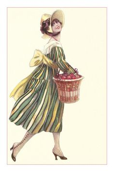 Victorian Woman in Stripped Dress Basket of Apples Premium Poster
