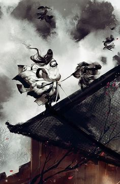 Fight on the roof Chinese Background, China Art, Human Art, Ancient China, Historical Pictures, Pretty Art, Chinese Painting, Japanese Art, Fantasy Art