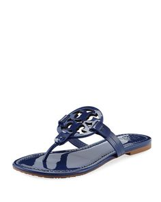 28469fe533d122 Tory Burch Miller Medallion Patent Leather Flat Thong Sandals