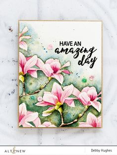 Handmade, watercoloured magnolias card by Debby Hughes using the Build A Flower Magnolia set from Altenew. Find out more here: http://altenewblog.com/2017/10/21/watercoloured-magnolias/