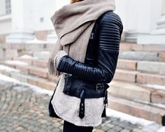 Love this color scheme and outfit in general. Leather jacket Zara Scarf Tiger of Sweden Sweater Zara Boots Primeboots (gifted)