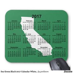 Sea Green Black 2017 Calendar White California Mouse Pad