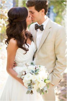 Tan Groom wedding style with black bowtie http://www.coniefoxdress.com/