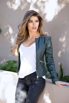 leather jacket outfit Feel great and look great in this round neck womensgreen leather jacket by Corbani. Crafted from real and genuine soft lambskin leather this collarlessjacket Collarless Leather Jacket, Green Leather Jackets, Designer Leather Jackets, Leather Jacket Outfits, Lambskin Leather, Leather Jackets For Women, Casual Outfits, Fashion Outfits, Jackets