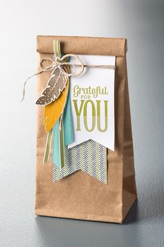 Dress up a Cafe Bag with some adorable feathers from the Four Feathers stamp set and let someone you love know that youre grateful for them!