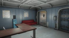 Welcome hall, barber store and elevator. Central atrium, luxurious rooms offered by More Vault Rooms mod and many other features. Fallout 4 Vault Tec, Barber Store, Fallout 4 Vaults, Fall Out 4, Atrium, Vaulting, Workshop, Rooms, Luxury