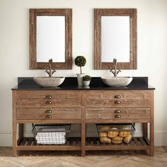 "72"" Benoist Reclaimed Wood Double Vessel Sink Vanity - Wax Pine"