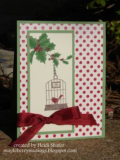 Mapleberry Musings: Workshop cards; Stampin' Up - Aviary, Bells & Boughs