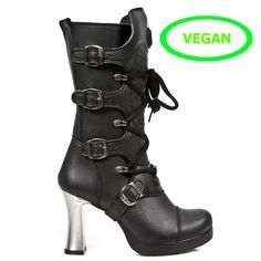m5815-vc10 Womens New Rock Calf Length Vegan Boots