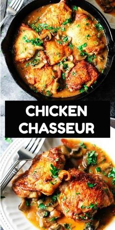 Chicken Chasseur or Hunter's Chicken is one of the most popular French chicken recipes. in chicken recipes Chicken Chasseur (French Hunter's Chicken) - Eating European Healthy Recipes, Crockpot Recipes, Chef Recipes, Easy Recipes, Healthy Food, Kitchen Recipes, Popular Recipes, French Chicken Recipes, Chicken