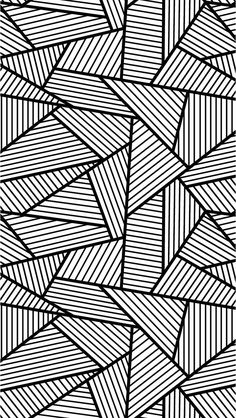 Free coloring page «coloring-adult-triangles-traits». Anti-stress Coloring page with big Triangles tangled and striped, free!