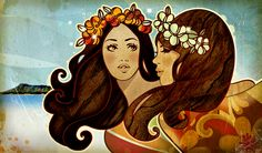 Hawaiian Girls: by Kat Reeder.print signed and hung in my room Hawaiian Girls, Hawaiian Art, Hawaiian Tropic, Vintage Hawaiian, Color Palette Generator, Tiki Art, Hula Girl, Art Google, Illustrations Posters