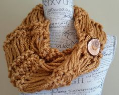 knit cowl. Gold. yellow chunky cowl. Made by Bead Gs on by BeadGs, $30.00