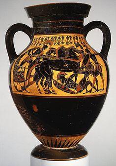 Terracotta amphora (jar)  Attributed to the Princeton Painter     Period:      Archaic  Date:      ca. 500–490 B.C.  Culture:      Greek, Attic  Medium:      Terracotta  Dimensions:      H. 15 1/8 in. (38.4 cm) diameter of mouth 6 7/8 in. (17.5 cm) diameter of foot 5 15/16 in. (15.1 cm)  Classification:      Vases