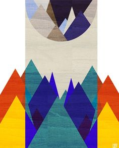 Night Mountain Retro Geometric  Art Print by thepairabirds on Etsy, $15.00