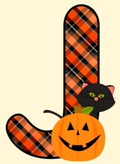 Plaid Halloween J - Colors: Orange and Black Halloween Clipart, Halloween Ii, Halloween Images, Holidays Halloween, Happy Halloween, Halloween Decorations, Monogram Alphabet, Alphabet And Numbers, Holiday Fonts