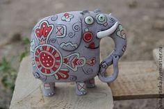 Смешной слон - Керамика,статуэтка,глина,игрушка ручной работы,смешная игрушка