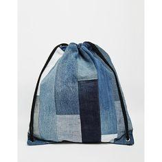 Milk It Denim Patchwork Drawstring Backpack (87 BGN) ❤ liked on Polyvore featuring bags, backpacks, blue, drawstring backpack bags, patchwork bag, strap bag, vintage bag and vintage rucksack