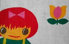 Vintage 1970s Fabric Remnant Scandinavian Theme CHILDREN playing Hide and seek | eBay